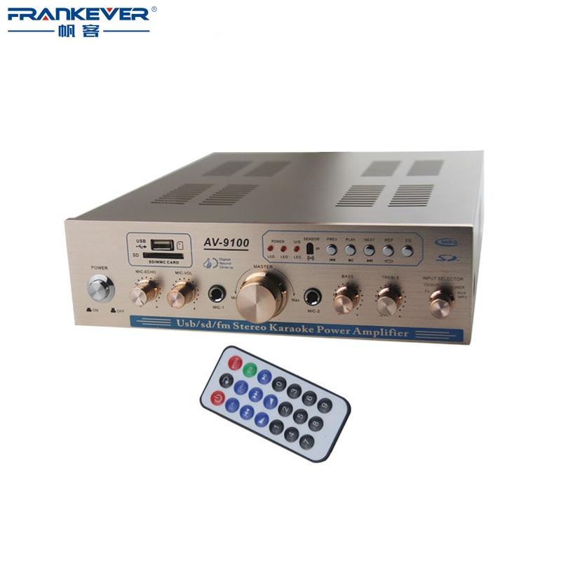 AV-9100 Digital HI-FI Stereo Audio Karaoke Home Amplifier Speaker USB/TF/CD/VCD/TV/FM 2*30W Super Bass Power Amplifiers multi function dc stereo amplifier speaker digital audio decoder power amplifier support usb tf card audio playback