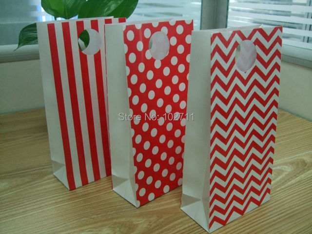 36pcs Red Party Paper Favor Bags With Handles Mixed Polka Dot Chevron Stripes Or