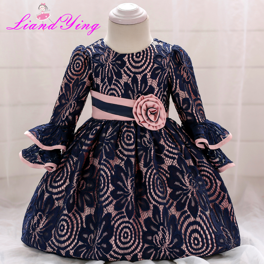 3M-2T Baby Girls Dress Black Lace Infant Summer Dress for Birthday Party Half Ruffles Sleeve Princess Floral Vestido Infantil