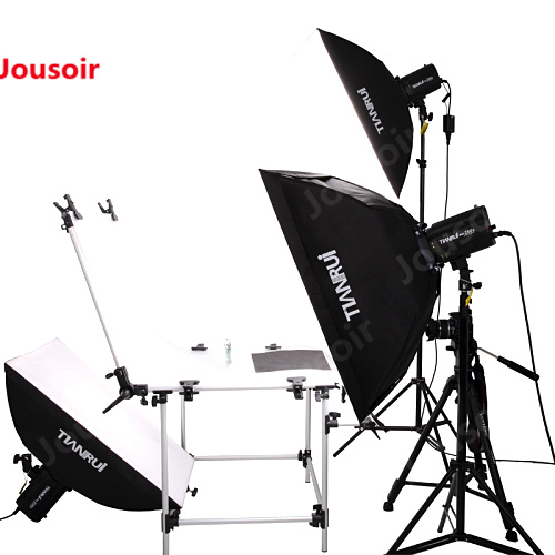 3 sets of 220W studio flash light head lamp costume portrait photography equipment + still life table CD15
