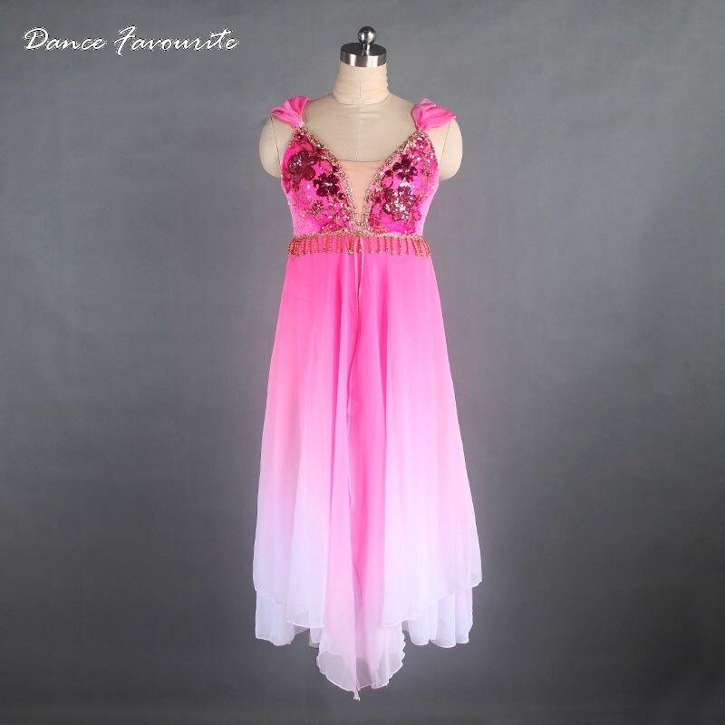 Women Professional Ballet Stage Costume Pink Performance Long Dress Costume, Le Corsaire Classical Ballet Tutu Dress