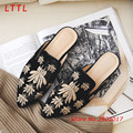 Summer New Women Embroidery Casual Pointed Toe Slippers High Quality Cozy Outside Single Shoes Square Heel Low Heel Women Shoes