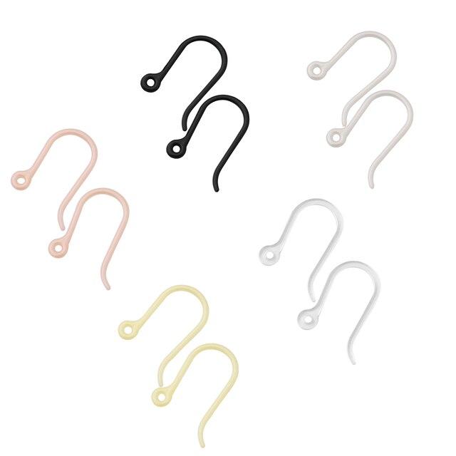 50pcs 2019 נשים של עגילים 5 צבעים לסביבה Friendlyl 7*11MM פלסטיק קל אוזן וו אביזרי תכשיטים