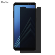 EXUNTON Premium Privacy Tempered Glass For Samsung Galaxy A6 A8 2016 2018 A6 Plus A8 Plus Anti Spy Screen Protector A6+ A8+ Film hotsale 9h 2 5 d anti spy privacy premium tempered glass screen protector for samsung galaxy note 3