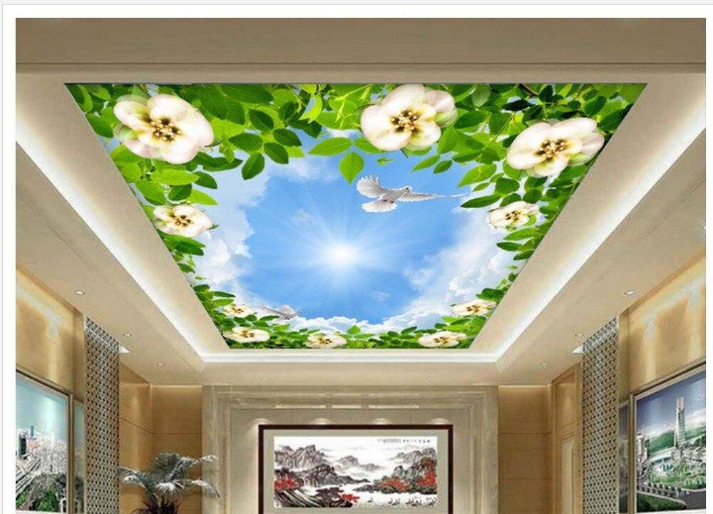 12 92 53 De Reduction 3d Papier Peint Pour Chambre Bleu Ciel Blanc Nuages Pigeons Vert Feuilles Vignes Plafond Toit Peintures Murales 3d Papier