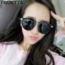 iGUETTA Retro Round Sunglasses Women Brand Designer Alloy Sun Glasses 2019 High Quality Pointed Shape Frame UV400 IYJB139