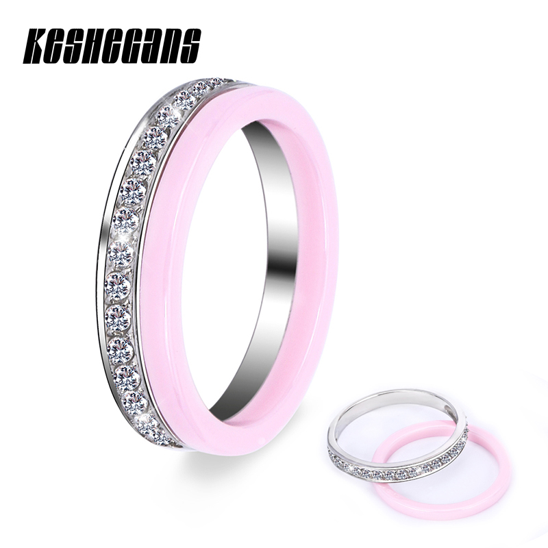 Pink Color Healthy Ceramic Ring Sets 2pcs/Set Beautiful Fashion Jewelry For Women Girl With Bling Crystal Rhinestone For Gifts