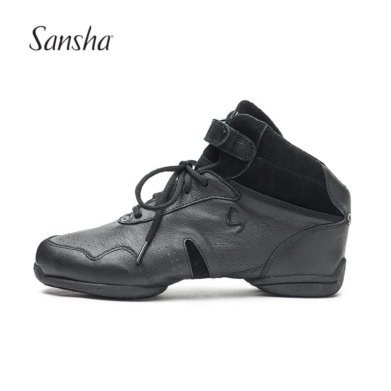 Sansha Dance Sneakers Pig Leather Upper TPR Split sole High Top Low Heel Sneakers Girls Women