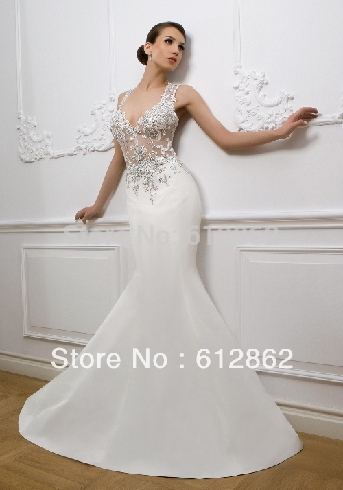 Mermaid transparent wedding dresses