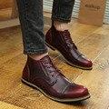 Dos homens Primavera e No Outono Retro Britânico Bullock esculpida sapatos de couro dos homens de couro sapatos casuais sapatos dos homens de negócios