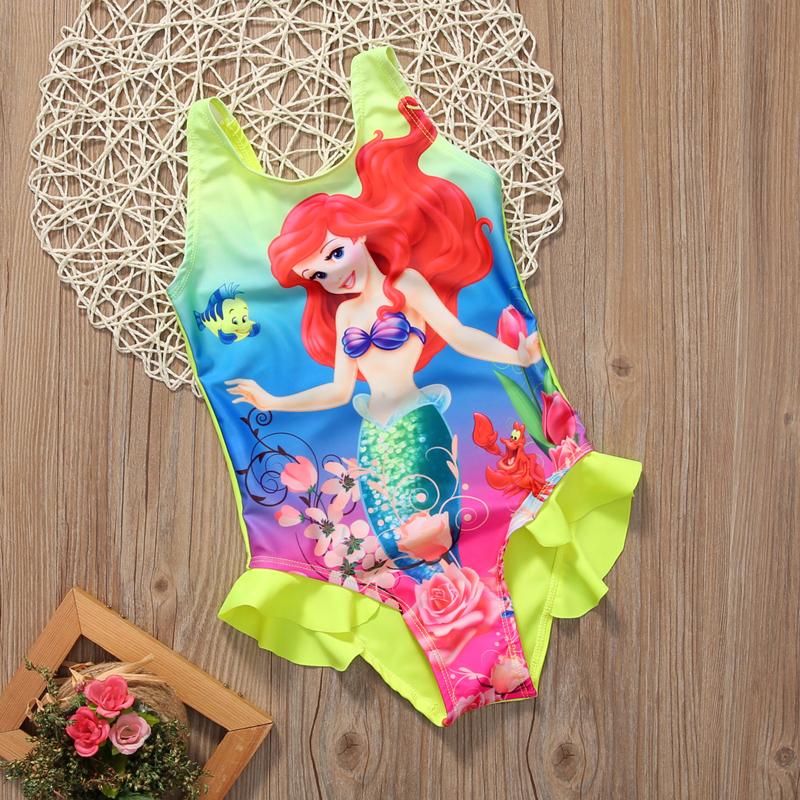 Купальный костюм Ариэль для маленьких девочек, купальный костюм, комплект бикини, танкини 14