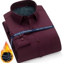 Winter Warm thick dress shhirt Fashion Brand Camisa Masculina Long Sleeve Shirt Men Slim fit Formal Casual Male Shirt Plus Size