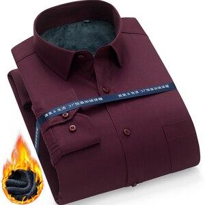 Image 1 - Winter Warm thick dress shhirt Fashion Brand Camisa Masculina Long Sleeve Shirt Men Slim fit Formal Casual Male Shirt Plus Size