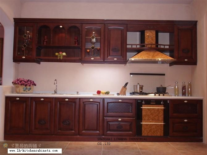 Solid wood high quality kitchen cabinet (LH-SW024)