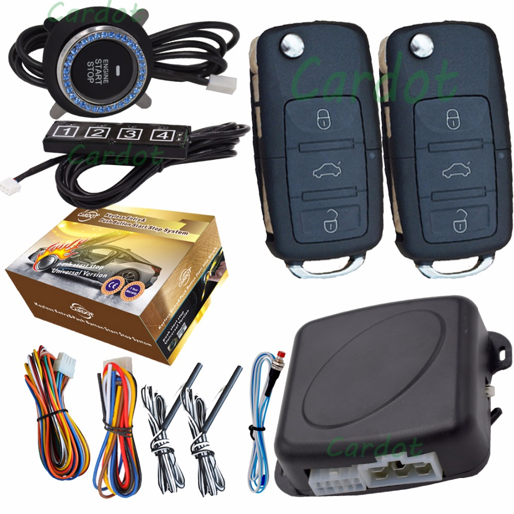 car security passive keyless entry ignition start stop alarm engine button passwords protection auto central lock system