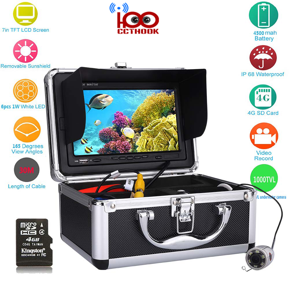 30m Cable Fish Finder with Color CCD HD 1000TVL Underwater Fishing Video Camera 7 Inch Color TFT Monitor with HD TF DVR Recorder gamwater 7 tft monitor 50m cable 360 degree rotate underwater camera underwater fishing camera color fish monitor fish finder