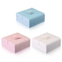 MJARTORIA 1PC Square Candy Color Jewelry Storage Box With Lovely Butterfly Decor New Fashion PU Leather Jewlery Organizer Boxes