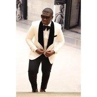 2017 Dernière Manteau Pantalon Conception Beige Ivoire Hommes Costume Marié De Mariage costumes Slim Fit 3 Pièce Smoking Personnalisé De Bal Blazer Terno Masculino