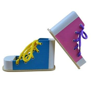 Juguetes Montessori, juguetes educativos de madera para niños, aprendizaje temprano, zapatos de cordones para enseñanza, zapatos de cordones para niños, juegos de cordones 1 Uds