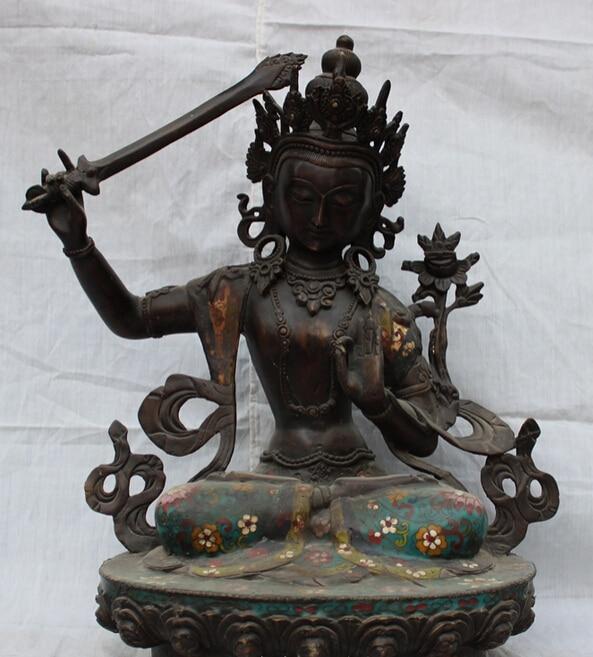 fast shipping USPS to USA S1665 17 Tibet Cloisonne Purple Bronze Manjushri Buddha Statue Manjusri Bodhisattvafast shipping USPS to USA S1665 17 Tibet Cloisonne Purple Bronze Manjushri Buddha Statue Manjusri Bodhisattva