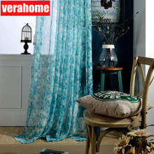 Fashion Peacock blue Sheer Curtains tulle for Living Room Bedroom voile curtain window treatment home decor norne embroidered semi white voiles peacock feathers tulle sheer curtains for living room kitchen drape treatment for bedroom