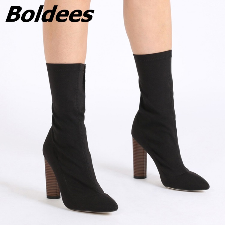 Boldees Women Concise Stretch Short Boots Unique Pointed Toe Chunky Heels Classic Back Zip Tight Short Boots Block Heels Women women irresistible suede color patchwork ankle boots round toe chunky heels classic side zip short boots new arrival this year