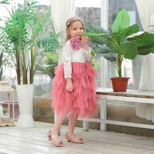 Image 2 - Robe en dentelle pour fille, vêtement de mariage, tulle à plusieurs niveaux, tenue de princesse Maxi à manches longues, pour enfants de 1 à 10 ans, E17104