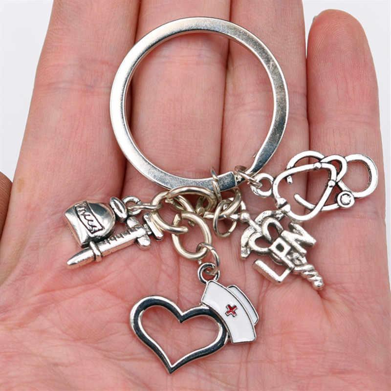 WKOUD 1 шт посеребренные Lpn шапочка медсестры брелок стетоскоп шприц брелок DIY ювелирные изделия ручной работы металлические цепочка для ключей A1668