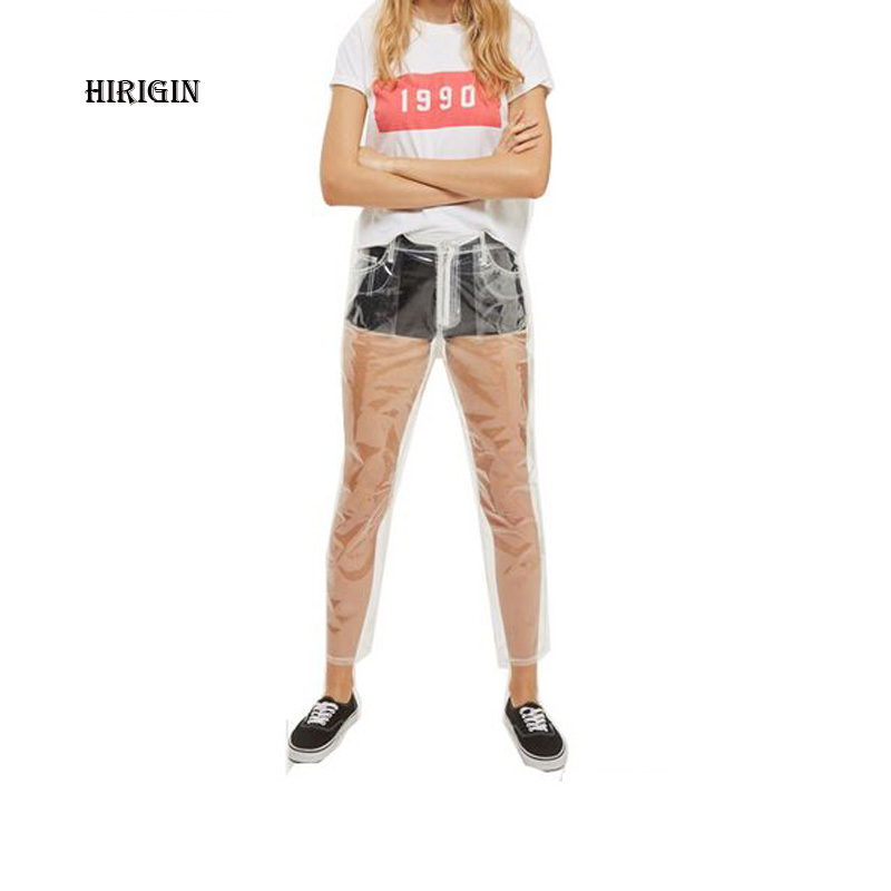 HIRIGIN 2018 Rare Hot Sale Transparent   Jeans   Waterproof PVC Plastic   Jeans   Trousers