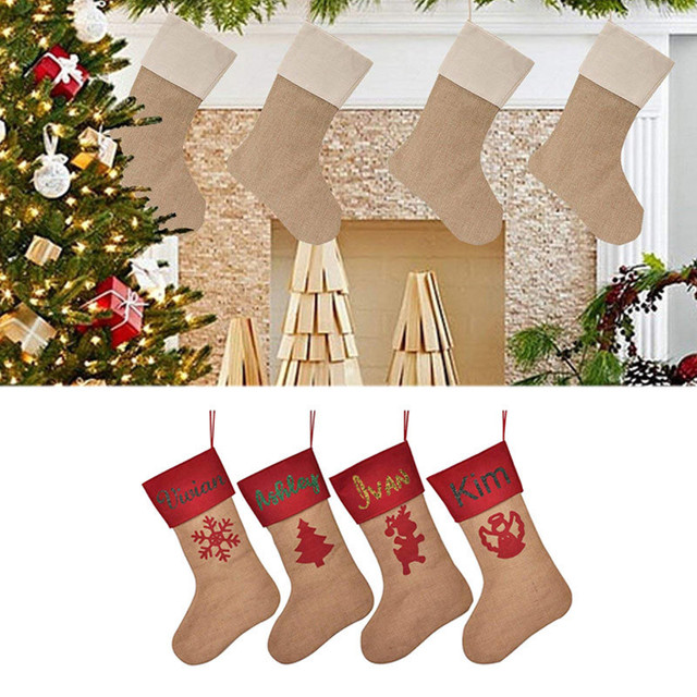 Personalized Custom Name Burlap Christmas Stockings Creative Candy Socks To Kids Diy Fireplace Decorfor Best Xmas