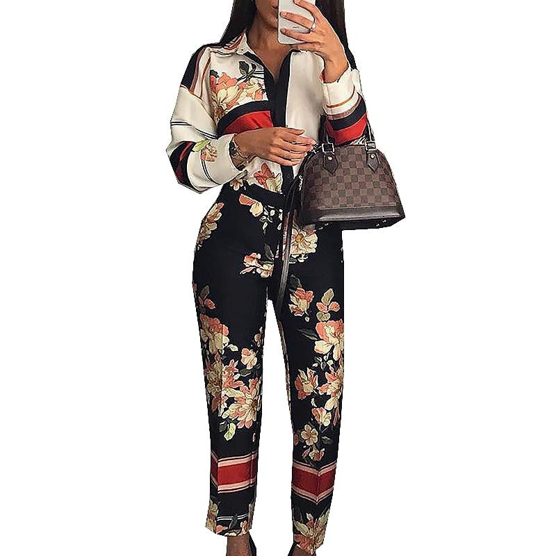 2019 Women Fashion Elegant Casual Workwear Party Romper Female Floral Print Turn-Down Neck Vintage Spring Long Sleeve   Jumpsuit