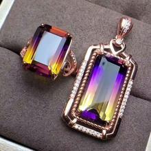 shilovem 925 sterling silver piezoelectric ametrine pendants rings fine Jewelry trendy gift send necklace new xhftz1014z1020agzj