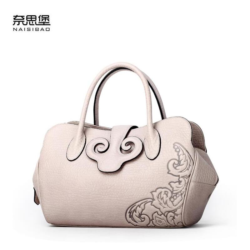 NAISIBAO 2018 New women genuine leather bag luxury handbags women bags designer fashion women shoulder Crossbody bag leather bag ladies genuine leather handbag 2018 luxury handbags women bags designer new leather handbags smile bag shoulder bag