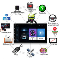 7 Inch 2 DIN Touch Screen HD Car GPS Radio Android 9.1 Universal Auto Stereo Car Multimedia Player Bluetooth USB Steering Wheel