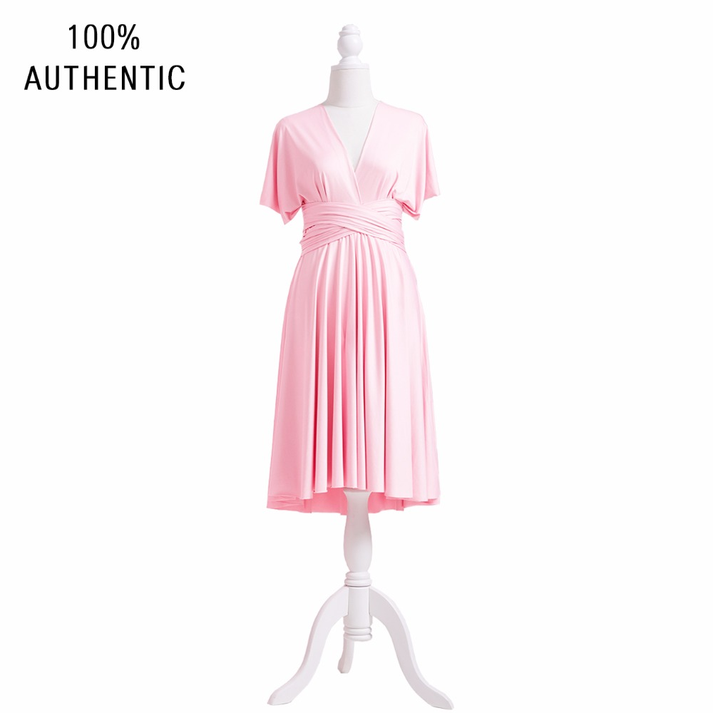 Blush Pink Bridesmaid Dress MultiWay Infinity Dress Short Plus Size Dress Wrap Dress With Sleeves styles day dress