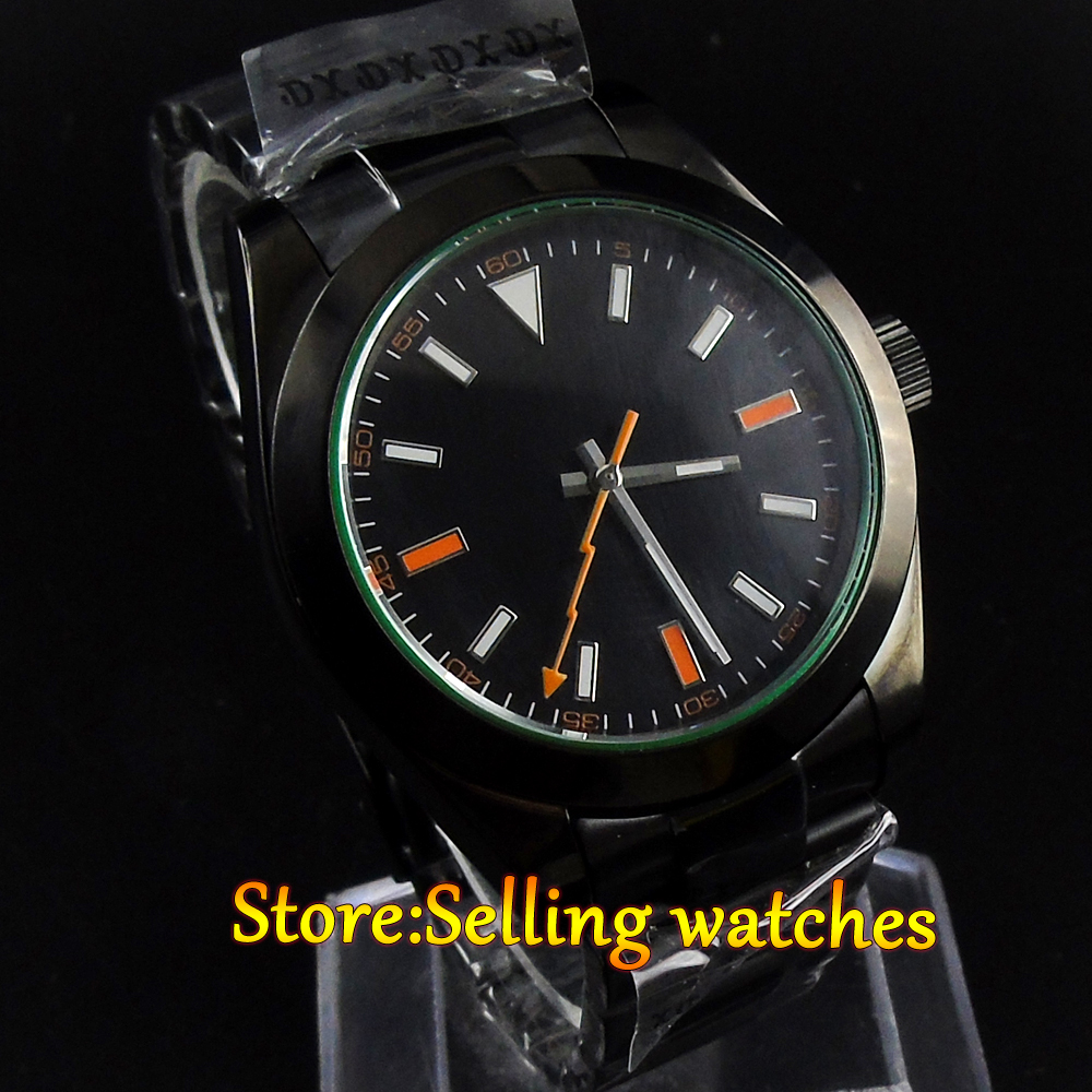 40mm Parnis black dial PVD sapphire glass MIYOTA automatic Mens Watch 40mm parnis white dial vintage automatic movement mens watch p25