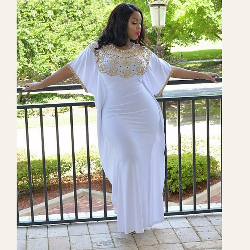 Gold-Beading-Plus-Size-Mermaid-Evening-Dress-Bat-Sleeves-2016-Scoop-Long-White-African-Prom-Dresses
