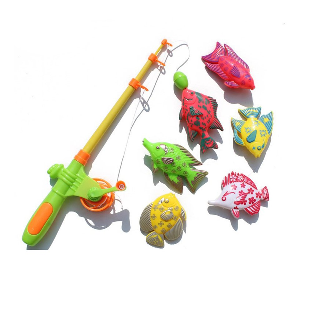 Creative 7 Pieces Magnetic Fishing Toy Set Fishing Learning Education Play Set 1 Pole 6 Magnetic Fish For Little Boys & Girls