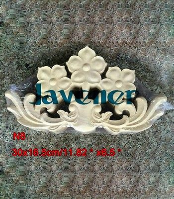 N8 -30x16.5cm Wood Carved Long Onlay Applique Unpainted Frame Door Decal Working Carpenter Flower