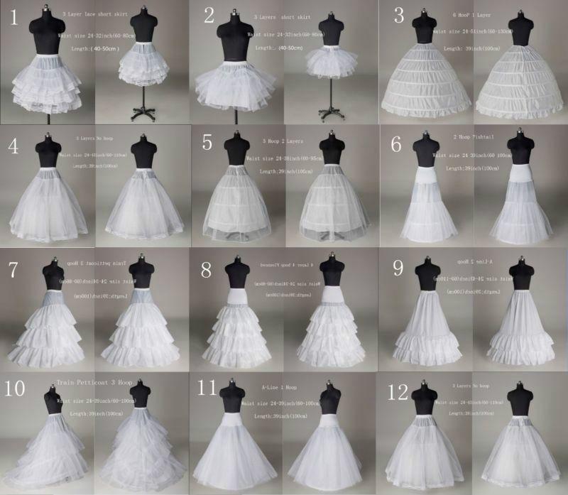 NEW 12Style White A Line/Hoop/Hoopless Wedding Crinoline Petticoat/Underskirt-SN