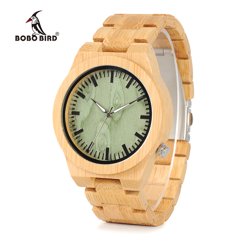 BOBO BIRD B22 Mens Bamboo Wood Wristwatch Ghost Eyes Wood Strap Glow Analog Watches with Gift Box