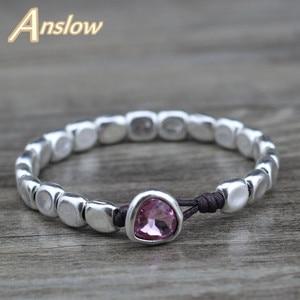 Женский браслет из голубых кристаллов Anslow, розовый браслет из голубых кристаллов ручной работы, ювелирный подарок, LOW0735LB