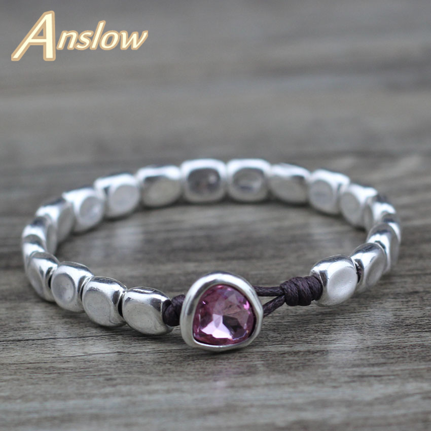 Anslow New Designer Handmade DIY Wrap Rope Silver Beads Pink Blue Crystal Bracelet For Women Girl Femme Jewelry Gift LOW0735LB title=