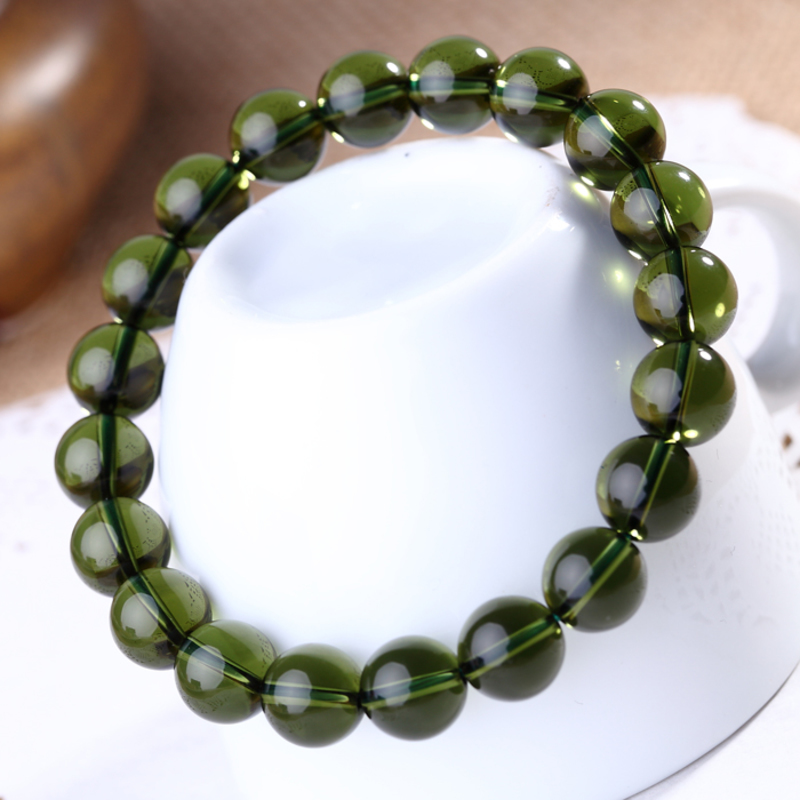 Pure Natural Green Bracelet Czekh Meteorite Bracelet Crystal Hand String Men And Women Fund Enrichment Transport Vanves 10mm