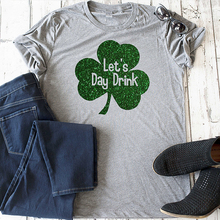 2019 Lets day drink shirt funny St patricks tshirt girls drinking cute tees women streetwear clothes harajuku
