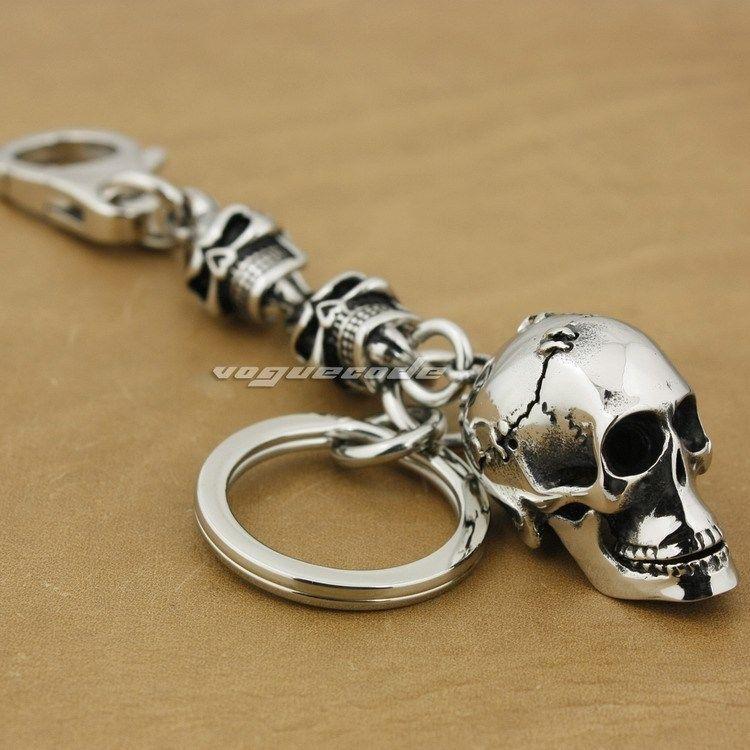 Unique porte-clés hommes en acier inoxydable 316L Skulls 3G002KCA