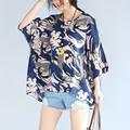 Make summer new large size ladies' national wind shirt loose batwing coat short sleeve T-shirt female personality