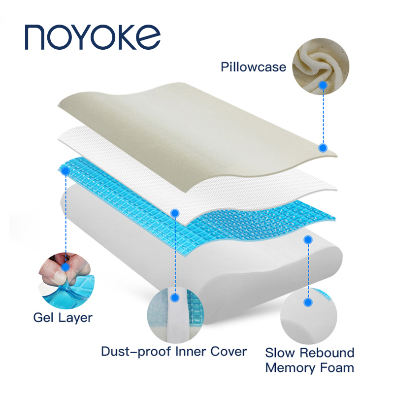 NOYOKE Memory Foam Pillow Cooling Gel Bed Pillow Cervical Protect Orthopedic Pillows for Sleeping