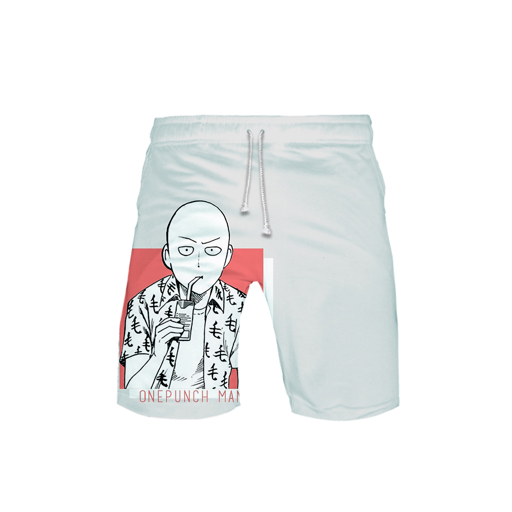 White One Punch Man front Shorts Saitama drinks