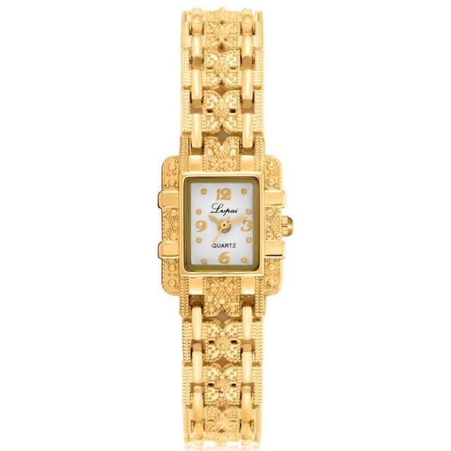 6dfa1080f6e Pulseira de ouro Relógios das Mulheres de Luxo Strass Quadrado Pequeno Dial  Aço Inoxidável Quartz Relógio